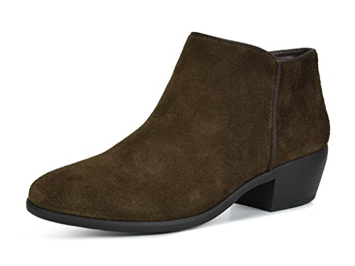 TOETOS Women's Dallas Brown Suede Leather Cowboy Ankle Booties - 8 M US