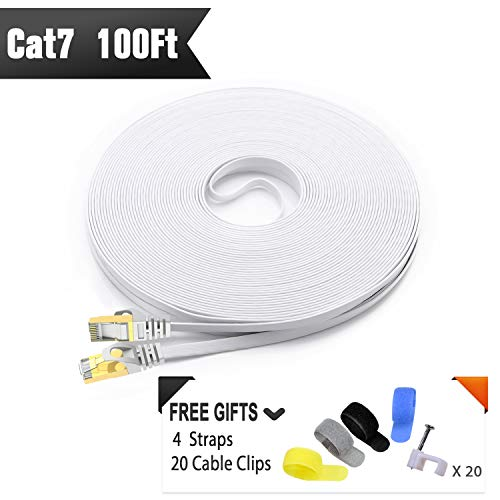 CableGeeker Cat7 Shielded Ethernet Cable 100ft (Highest Speed Cable) Flat Ethernet Patch Cable Support Cat5/Cat6 Network,600Mhz,10Gbps - White Computer Cord + Free Clips and Straps for Router Xbox