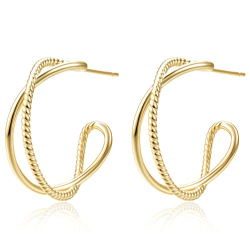 14K Yellow Gold Plated Hoop Earrings for Women, Women's Twisted Two Tone Hoops Earings, Fashion Dainty Wide Loops Earring with 925 Sterling Silver Hypoallergenic Posts (14K Yellow Gold Plated)
