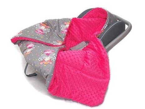 Auto EInschlagdecke - Fee Grau-Minky pink Doppelseitige Einschlagdecke f/ür Babyschale Autokindersitz Buggy Kinderwagen 90x90cm universal baby Decke z.B. Maxi-Cosi//Cybex//R/ömer