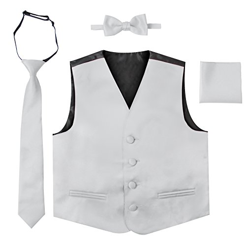 - Luca Gabriel Toddler Boys' 4 Piece Formal Satin Vest Set - Silver - 2 to 3
