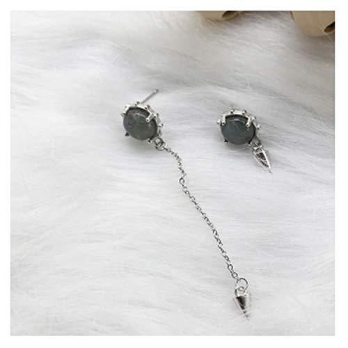 One Long One Short Rivet Drop Earrings Asymmetrical Stone 925 Sterling Silver Earrings,silver