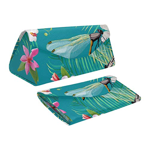 InterestPrint Dragonflies Foldable Eyeglasses Case with Magnet Closure Leather Protective Case