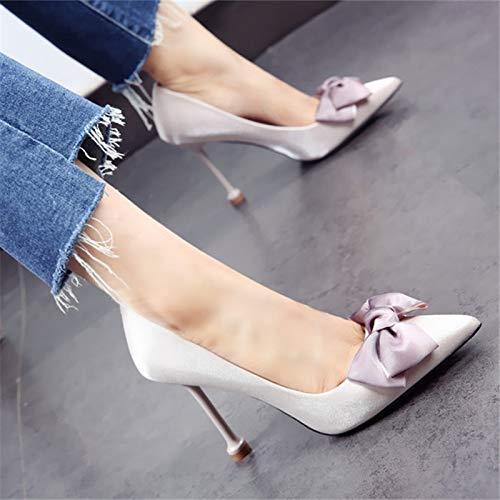 in YMFIE dolce Eleganti tacchi punta temperamento ed fiocco B eleganti bocca alti a scarpe a singole punta raso superficiale wwYSqr