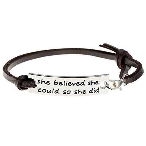 """Jovivi Bracelet Réglable Leather Cuir Véritable Plaque """"She believed she could so she did"""" Brun Foncé"""