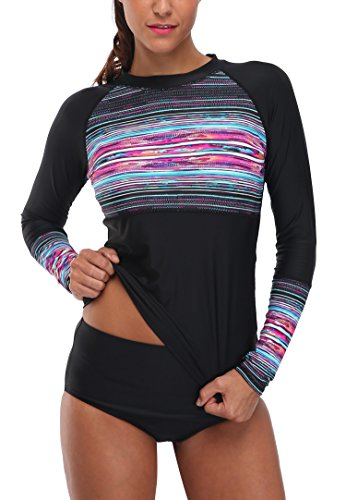 Anwell Women's Black Long Sleeve UPF50+ Rash Guard Sun Protective Swim Shirt...