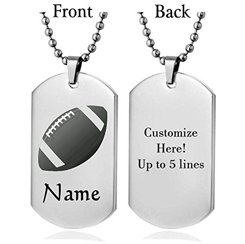 Personalized Sport Silhouette Customize Engrave Message Name Dog tag Necklace Pendant 24 inch Stainless Steel Chain Giftpouch and Keyring (Silver Football) ()