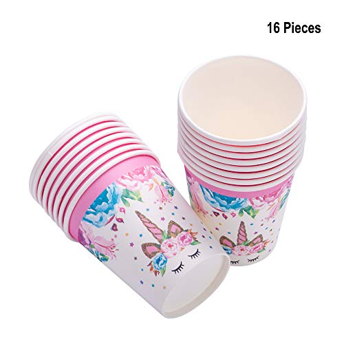 Daughters Girls Birthday Party Decorations - Unicorn Paper Cups, Unicorn Themed Birthday Party Supplies Disposable Paper Cups for Girls Unicorn Party and Baby Shower Decoration, 9 oz, 16 Pack