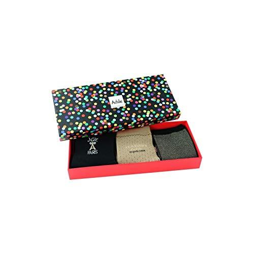 Achile 3 Paires Noir Coffret Femme Maison Beige De Cadeau Chaussettes qqaSH6