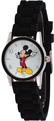 White Dial Black Silicone - Disney MCK861 Hers Mickey Mouse Black Silicone Band White Dial Analog Watch