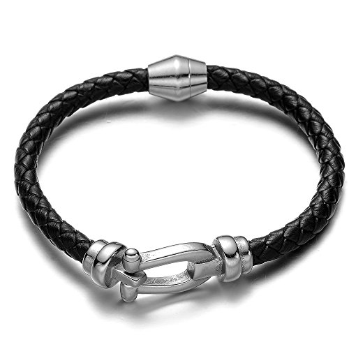 REAMOR 316l Stainless Steel Unique Design Connectors Beads Genuine Leather Braided Bracelet with Magnetic Clasp