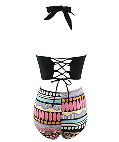 Y&L De Las Mujeres Conjuntos De Bikini De Talle Alto, Étnicos Impreso Trajes De Baño Spa Trajes De Baño Ropa De Playa Negro