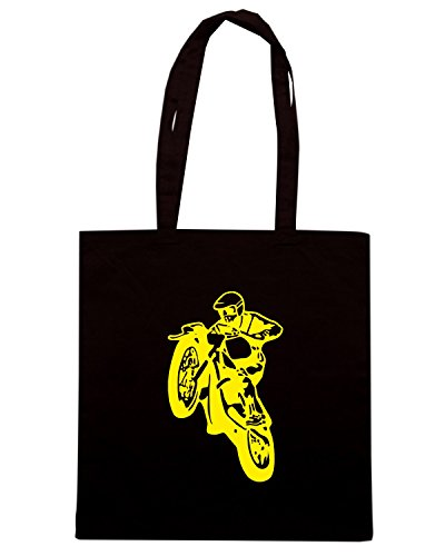 T-Shirtshock - Bolsa para la compra FUN1219 dirt bike die cut decal 2 06873 Negro