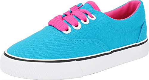 Cambridge Select Kid's Lace up Canvas Casual Athletic Sneaker (Toddler/Little Kid/Big Kid),12 M US Little Kid,Light Blue/Fuchsia