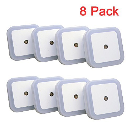[2016 Upgraded Version]Ledinus 8 Packs 0.5W LED Night Plug-and-Play Automatic Wall Lights Lamp,Energy Efficient,Light Control Sensor for Baby Kids Bedroom,Corridor,indoor,Closet,Hallway