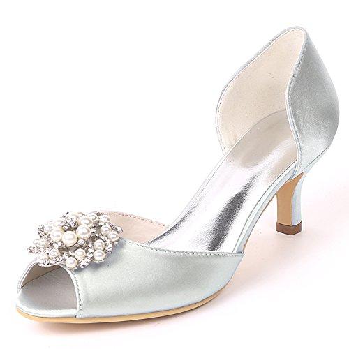 Las L Talón La De Rhinestones yc Mujeres A Hecho Bajo Gatito Tamaño Satén Zapatos Del Medida Partido Silver talones Lateral Boda Aire yrfrKIq