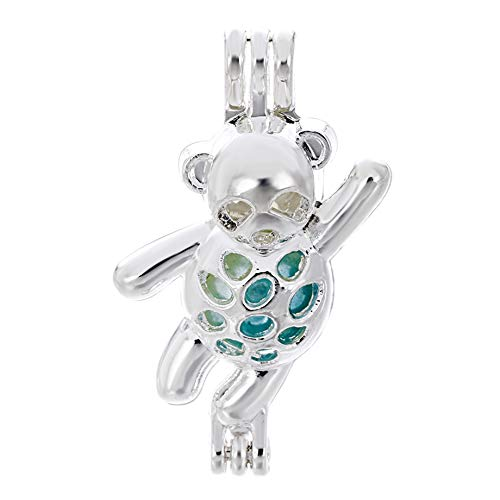 (10pcs Silver Bear Pearl Cage Beads Cage Locket Pendant Jewelry Making-For Oyster Pearls, Essential Oil Diffuser, Fun Gifts (Bear-1) )