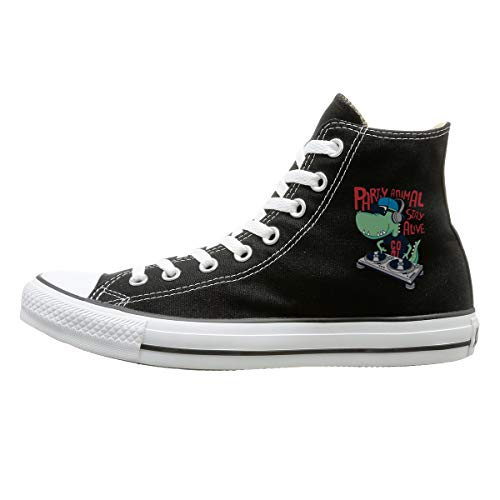 TERRIS Casual Canvas Shoes Dj Crocodile High-Top Lace Up Canvas Sneakers for Men Women Black