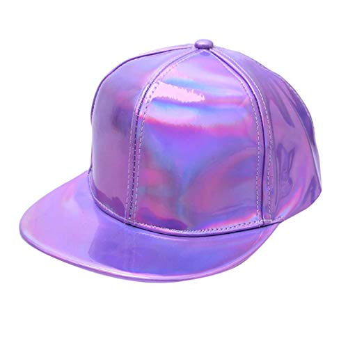 Yucode Man Women Baseball Solid Color Fluorescence Flat-Brimmed Hat Hip-hop Hat Purple ()