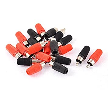 20pcs DealMux recta RCA macho Jack Audio Video Cable coaxial conector rojo Negro