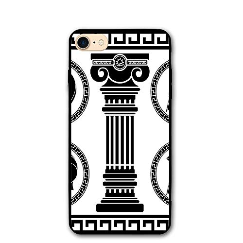 Haixia IPhone 7/8 Cover Case 4.7 Inch Toga Party Patterned Circular Frames With Antique Helmets Spartan Military Costume Decorative Black And White