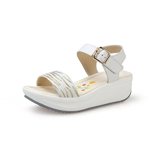 AllhqFashion Womens Soft Material Buckle Open Toe Kitten-Heels Assorted Colors Sandals White ox8kBYl
