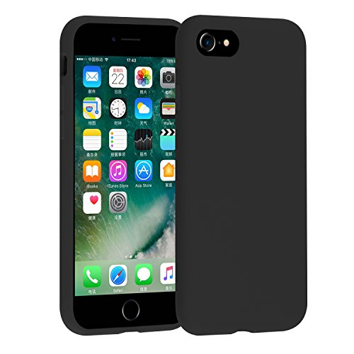 iPhone 8 Case, iPhone 7 Case, Chiyanhu [Love Series] Liquid Silicone Gel Rubber Case with Soft Microfiber Cloth Lining Cushion for Apple iPhone 8 (2017) / iPhone 7 (2016), Light Blue (Black)…