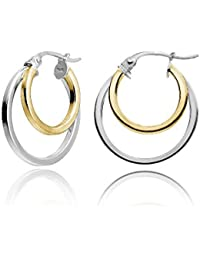 Sterling Silver Double Circle Round-Tube Polished Hoop Earrings, 15mm