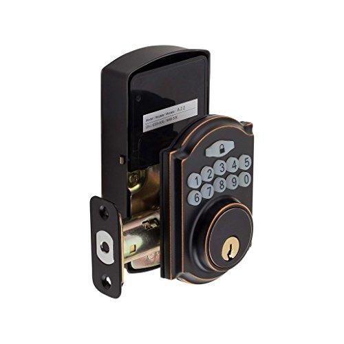 Harney Hardware Inc Electronic Keyless Deadbolt, Arch Top Escutcheon