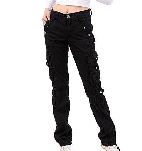 pantaloni multitasche Pantaloni campeggio Nero per da per gli da combattimento da trekking da da pantaloni trekking alpinismo multifunzione amanti YCY1qR