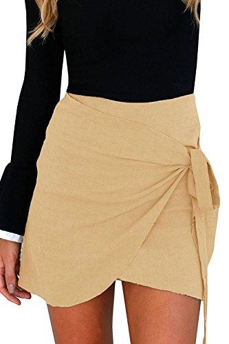 Khaki Cotton Mini Skirt - 3