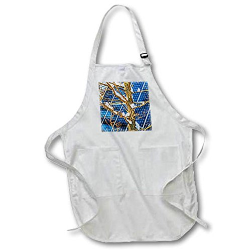 3dRose Alexis Photography - Objects - Young snow covered oak tree and a solar power panel in winter park - Full Length Apron with Pockets 22w x 30l (apr_280889_1) -