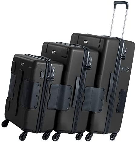 TACH V3 Hard Shell 3 Piece Luggage Set – 22, 24 & 28 inch Luggage | Carry On, Medium & Large Checked Suitcases | Patented Built-In Connecting System | Rolling Suitcase Links 6 Bags (Black)