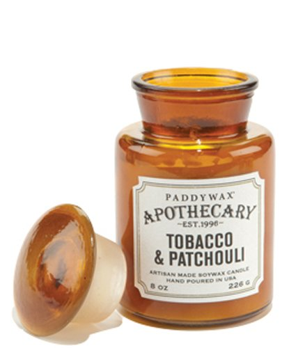 Paddywax Apothecary Collection Scented Soy Wax Jar Candle, 8-Ounce, Tobacco & Patchouli