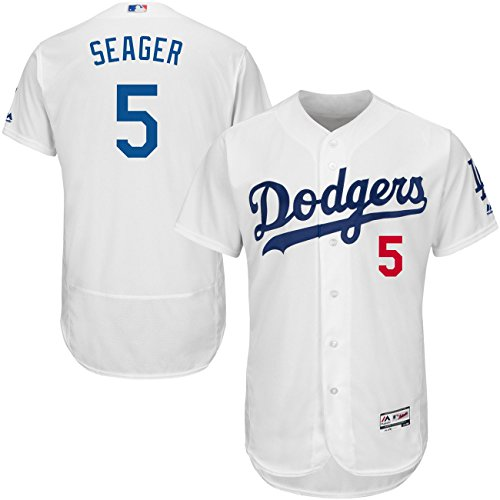 Majestic Athletic Mens Los Angeles Dodgers No 5 Corey Seager Home White Baseball Jersey  Size 48