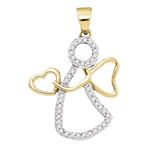 (10kt Yellow Gold Womens Round Diamond Guardian Angel Heart Pendant 1/8 Cttw)