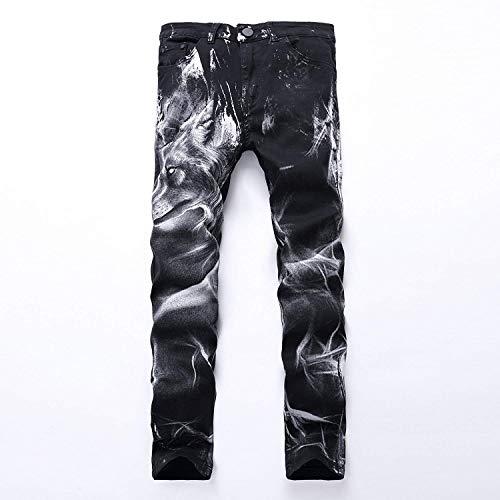 2018 Diseño De Moda De Único Hombres Skinny Los Hombres Patrones Vaqueros Negros Hombres Los Hombres Pantalones Vaqueros Atractivos con La Norma En Imprime La Pierna Derecho Adelgaza Los Stil1