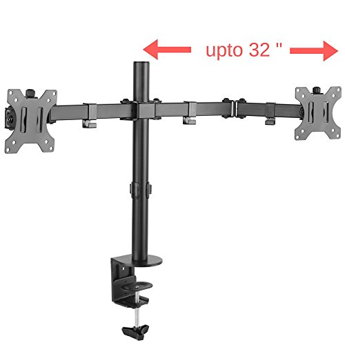 PriMount - 32 inch Articulating Dual Monitor VESA Stand Mount with Double Jointed Arms for 2 / Two Computer LCD LED Flat Curved Screens weighing upto 23 Lbs each (EX-20)