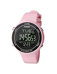 HIwatch Digital Sports Watch Multiple Alarm with LED Screen Large Face for Boys Girls Youth Student Watches and Waterproof Casual Luminous Stopwatch Alarm Simple Wrist Watch, Pink