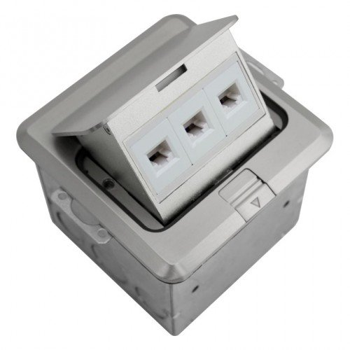 Orbit FLBPU-L-S-SS Electric Floor Box, Pop-Up Cover RJ45 Ports - 4'' Square - Stainless Steel
