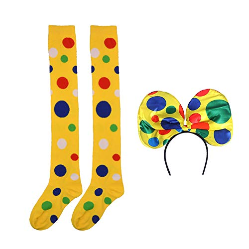 Clown Socks Long Knee High Socks Colorful Vibrant Dot Rainbow Socks with Clown Headband for Girls Women Halloween Carnival Circus Stage Costume -