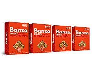 Banza Chickpea Pasta, Variety Case, Shells/Elbows/Penne/Rotini (Pack of 6)