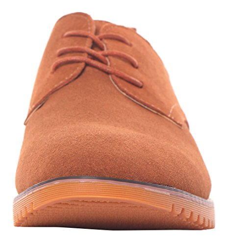 Runday Men's Fashion Suede Leather Shoes Round Toe Lace Up Casual Oxfords(9 D(M)US,tan) (9 D(M) US, Tan) by Runday (Image #1)
