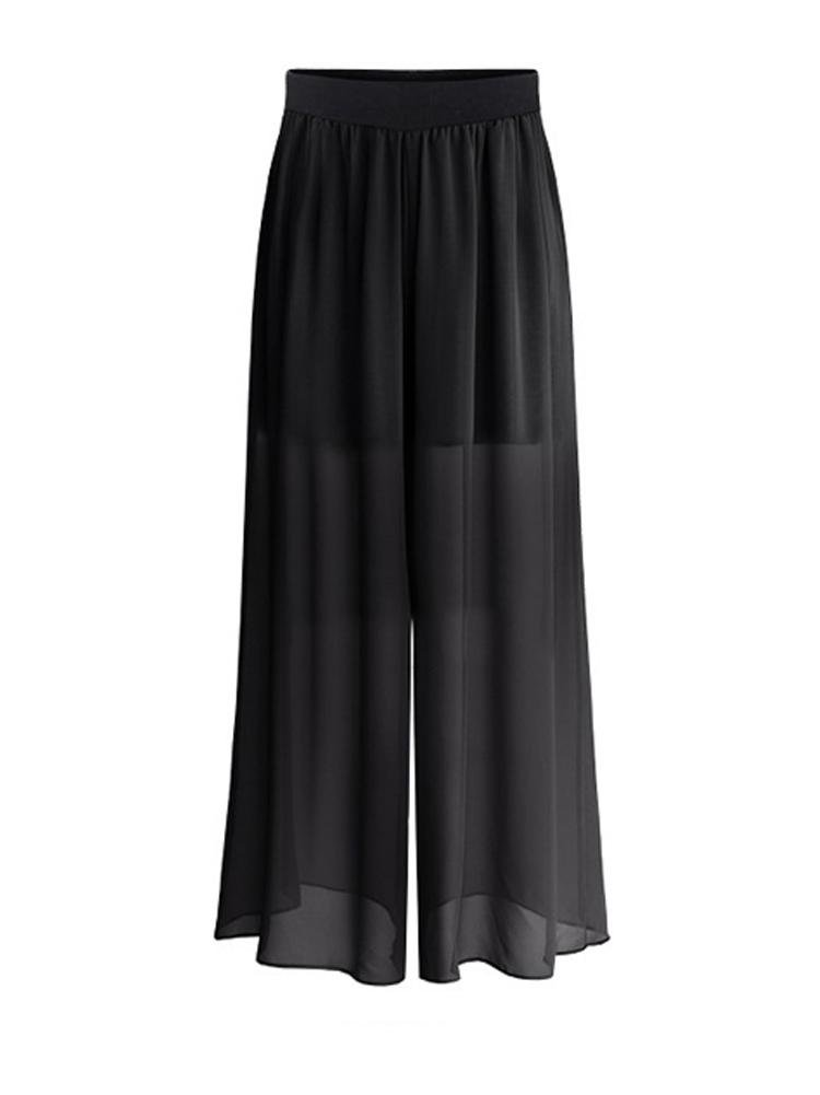 Lingswallow Women's Black Sexy High Waist Chiffon Harem Wide Leg Palazzo Pants