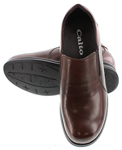 G61306 4 CALTO Increasing on Inches Brown Elevator Leather 4 Shoes Taller Height Slip Dark dqqZr6x