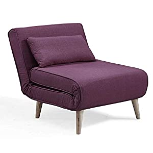 DecoInParis Fauteuil Convertible en Tissu Tonka (Violet)