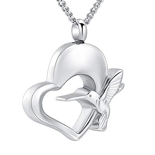(Yinplsmemory Cremation Jewelry Hummingbird Urn Necklace for Ashes Stainless Steel Heart Cremation Lockets for Ashes Holder (Silver))