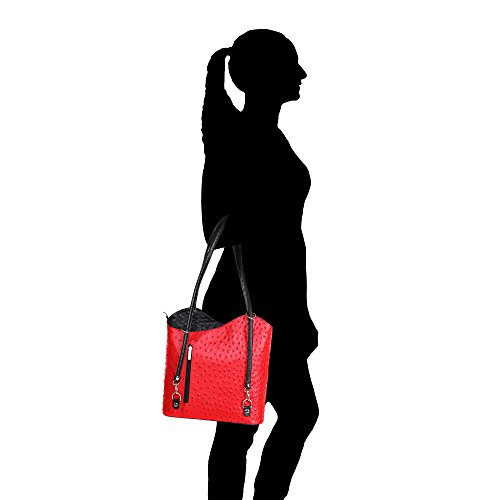 Donna Borsa Made Stampa Struzzo Rosso A Da 28x30x9 Vera Borse Pelle In Spalla Cm Chicca Italy Nero qpX5w