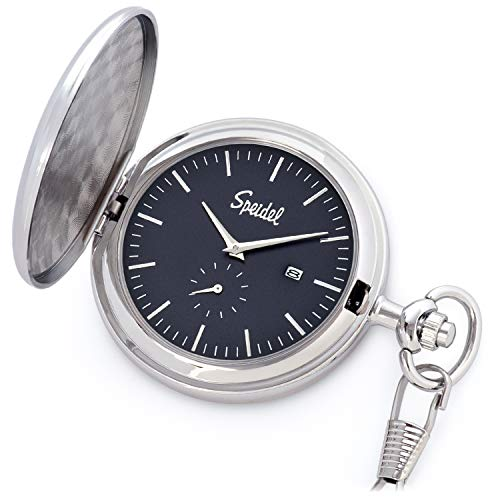 Date Silver Tone Pocket Watch - Speidel Classic Brushed Satin Silver-Tone Engravable Pocket Watch with 14