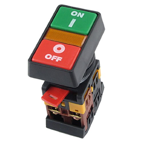 Uxcell a11083100ux0124 ON OFF START STOP Push Button with Light Indicator Momentary Switch, Red/Green Power (Stop Button Switch Push)